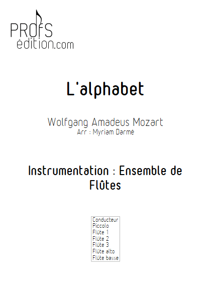 L'Alphabet - Ensemble de Flûtes - TRADITIONNEL - page de garde