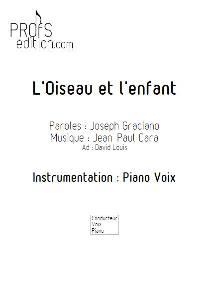 L'Oiseau et l'enfant - Piano Voix - CARA J.P. - page de garde