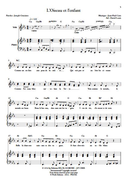 L'Oiseau et l'enfant - Piano Voix - CARA J.P. - Partition