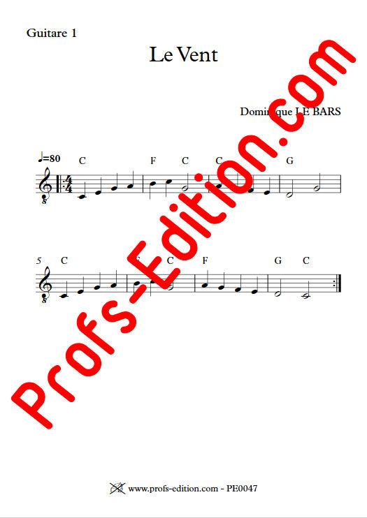 Le Vent - Duos Guitare - LE BARS D. - Partition