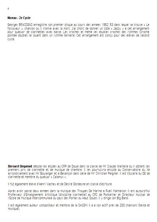 Le Fossoyeur - Quatuor de Clarinettes - BRASSENS G. - Fiche Pédagogique
