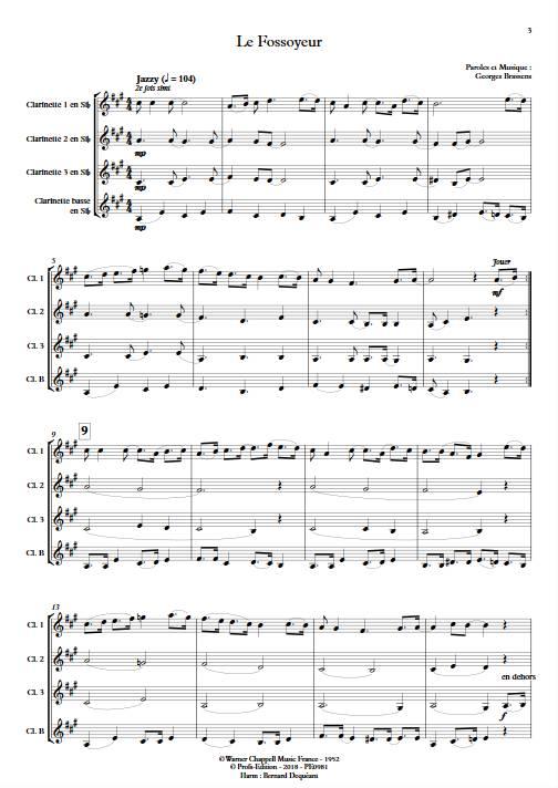 Le Fossoyeur - Quatuor de Clarinettes - BRASSENS G. - app.scorescoreTitle