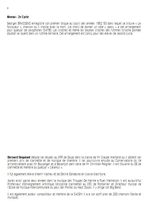 Le Fossoyeur - Quatuor de Saxophones - BRASSENS G. - Fiche Pédagogique