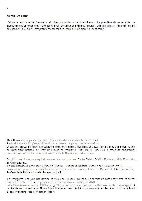 L'Alouette - Chœur et Piano - NISSIM M. - Fiche Pédagogique
