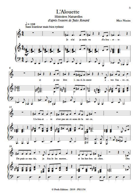 L'Alouette - Chœur et Piano - NISSIM M. - Partition