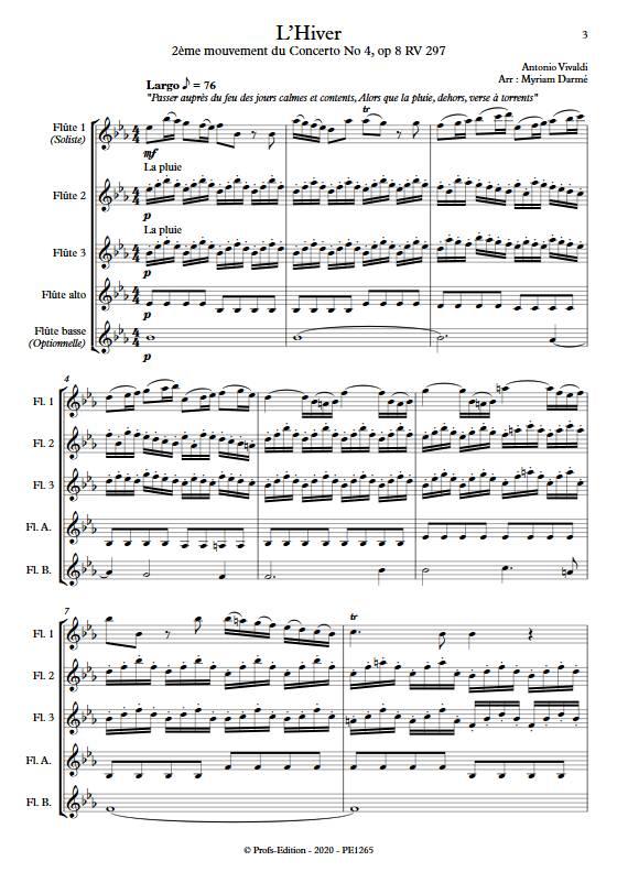 L'Hiver 2e mvt - Ensemble de Flûtes - VIVALDI A. - Partition