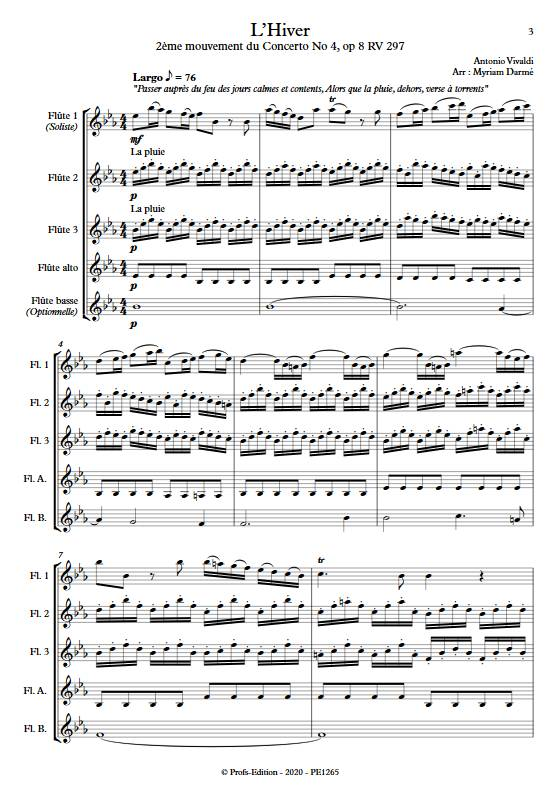 L'Hiver 2e mvt - Ensemble de Flûtes - VIVALDI A. - app.scorescoreTitle