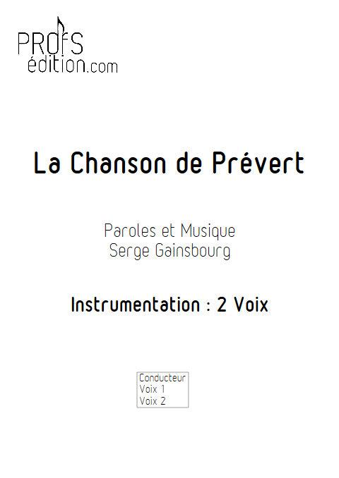 La Chanson de Prévert - Chœur 2 Voix - GAINSBOURG S. - page de garde