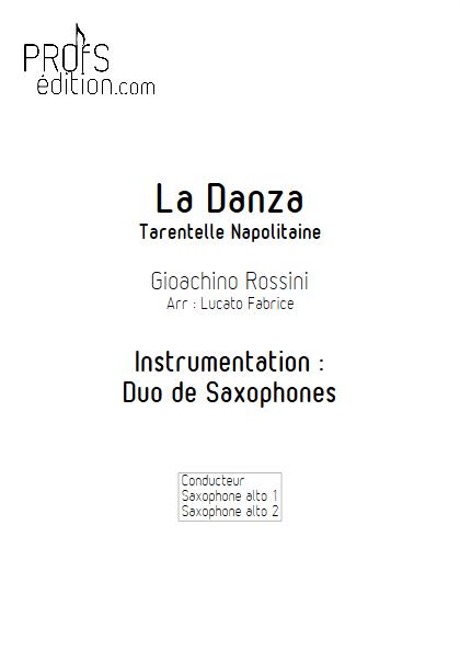 La Danza - Duo de Saxophones - ROSSINI G. - page de garde