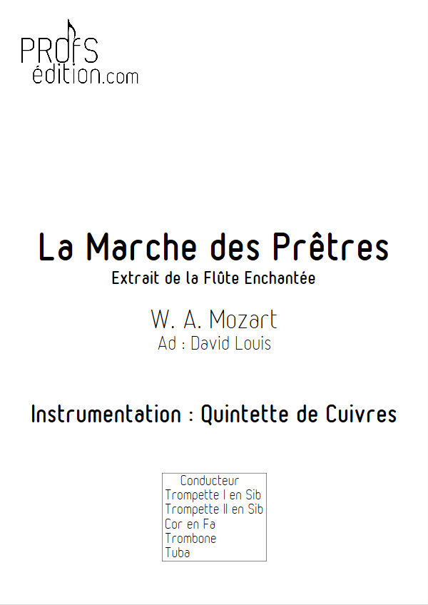 La Marche des Prêtres - Quintette Cuivres - MOZART W. A. - page de garde