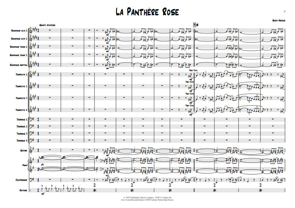 La Panthère Rose - Big Band - MANCINI H. - Partition