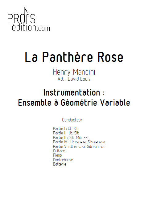 La Panthère Rose - Ensemble à Géométrie Variable - MANCINI H. - page de garde
