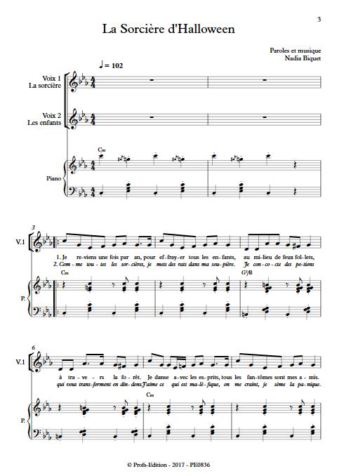 La Sorcière d'Halloween - Piano Voix - BIQUET N. - Partition