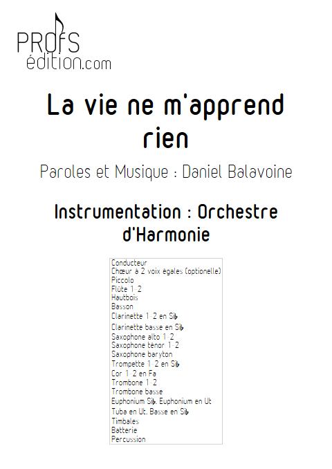 La vie ne m'apprend rien - Orchestre d'Harmonie - BALAVOINE D. - page de garde
