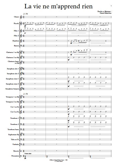 La vie ne m'apprend rien - Orchestre d'Harmonie - BALAVOINE D. - Partition