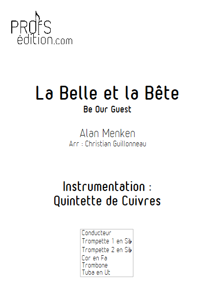La Belle et le Bête (C'est la Fête) - Quintette de Cuivres - MENKEN A. - page de garde