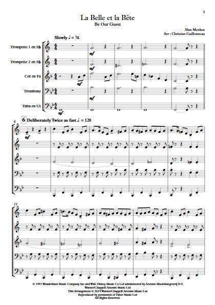 La Belle et le Bête (C'est la Fête) - Quintette de Cuivres - MENKEN A. - Partition