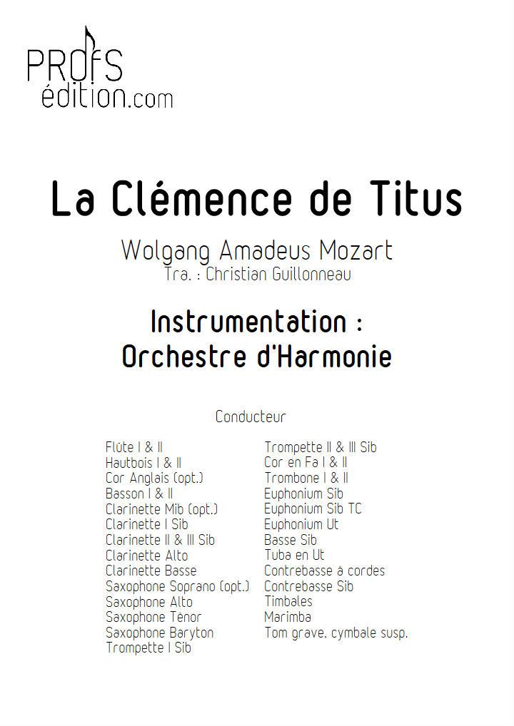 La Clémence de Titus - Orchestre d'harmonie - GUILLONNEAU C. - page de garde