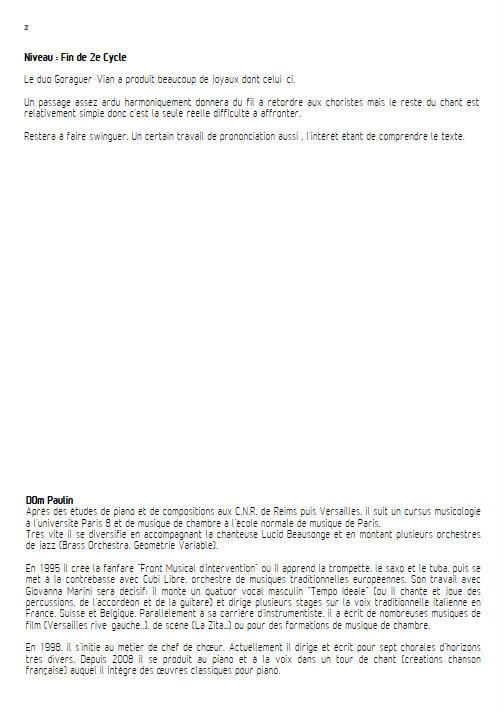 La Complainte du Progrès - Chœur 3 voix mixtes - VIAN B. - Fiche Pédagogique