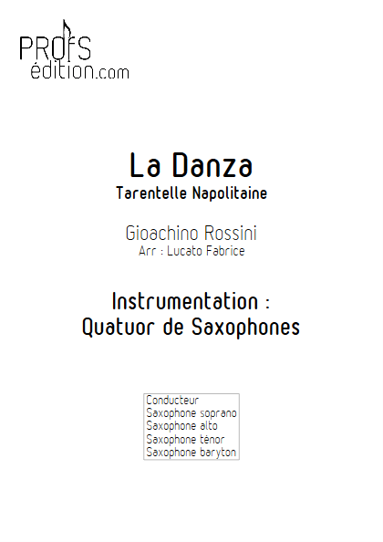 La Danza - Tarentelle - Quatuor de Saxophones - ROSSINI G. - page de garde