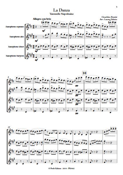 La Danza - Tarentelle - Quatuor de Saxophones - ROSSINI G. - Partition