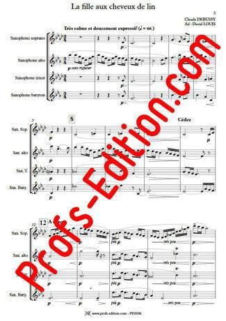 La Fille aux Cheveux de lin - Quatuor Saxophones - DEBUSSY C. - app.scorescoreTitle