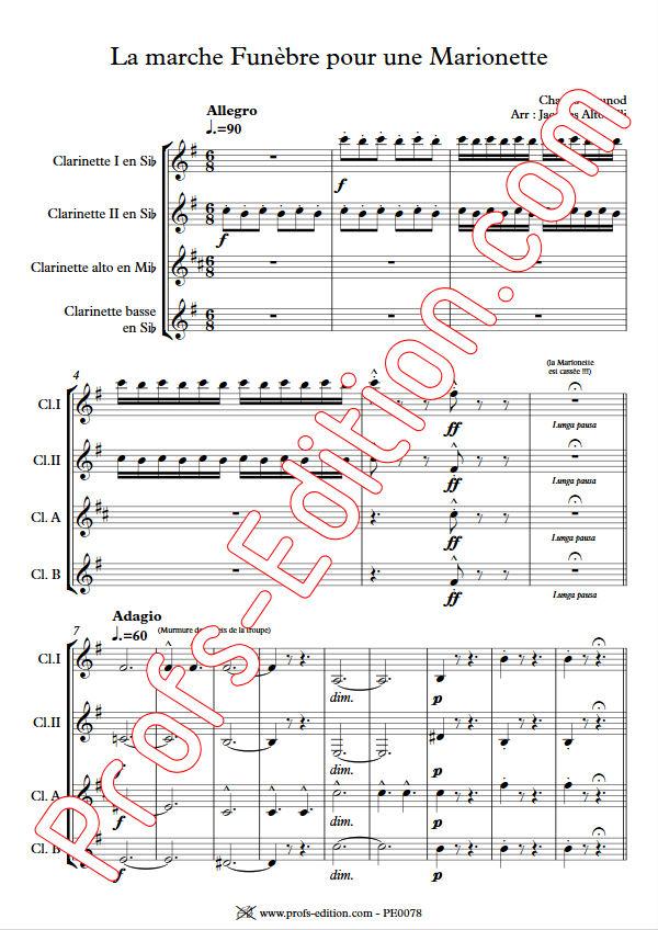 La marche funèbre de la Marionette - Quatuor Clarinettes - GOUNOD C. - Partition