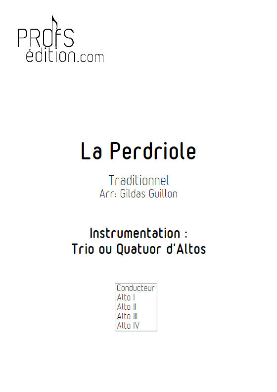 La Perdriole - Trio ou Quatuor Violons Alto - TRADITIONNEL - page de garde