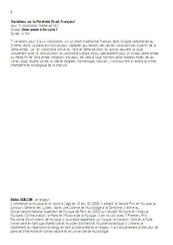 La Perdriole - Trio ou Quatuor Violoncelles - TRADITIONNEL - Fiche Pédagogique