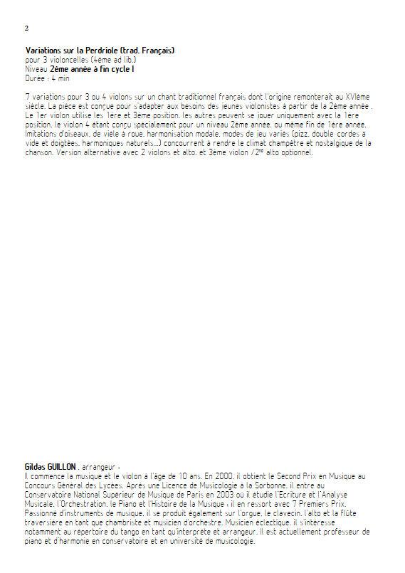 La Perdriole - Trio ou Quatuor Violons - TRADITIONNEL - Fiche Pédagogique