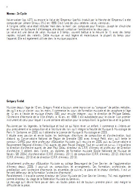 La valse de l'Empereur - Orchestre d'Harmonie - FRELAT G. - Fiche Pédagogique