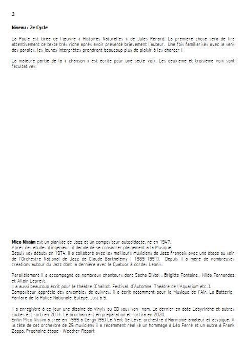 La Poule - Chœur et Piano - NISSIM M. - Fiche Pédagogique