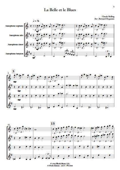 La Belle et le Blues - Quatuor de Saxophones - BOLLING C. - app.scorescoreTitle