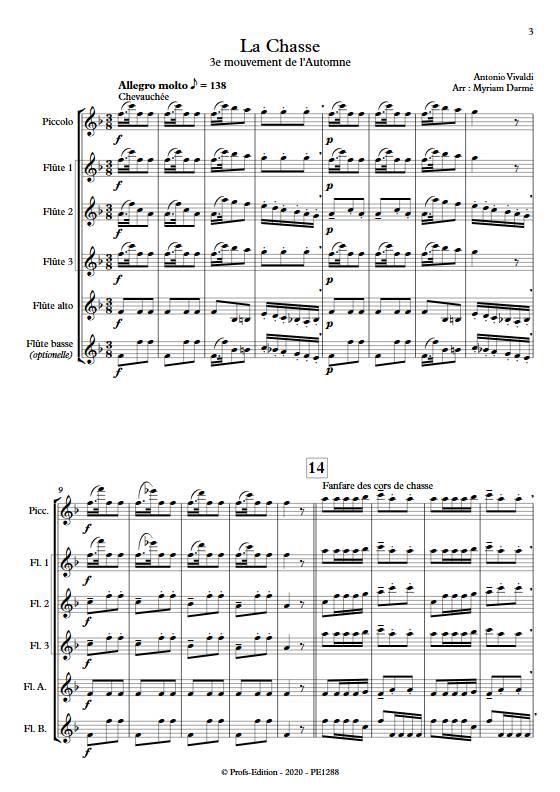 La Chasse - Ensemble de Flûtes - VIVALDI A. - Partition