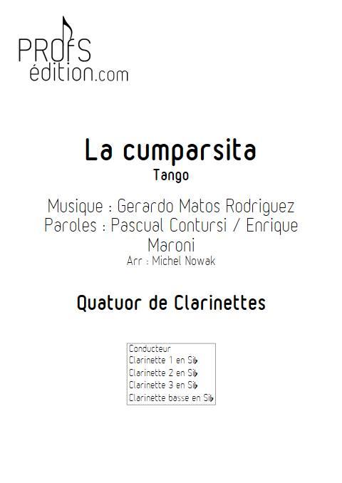 La Cumparsita - Quatuor de Clarinettes - RODRIGUEZ G. M. - page de garde