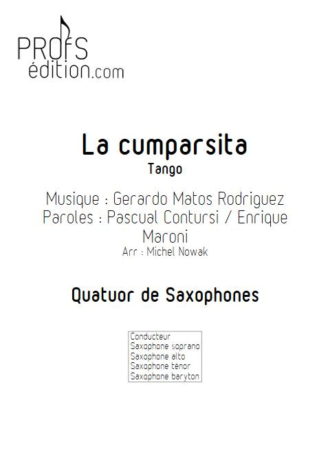 La Cumparsita - Quatuor de Saxophones - RODRIGUEZ G. M. - page de garde