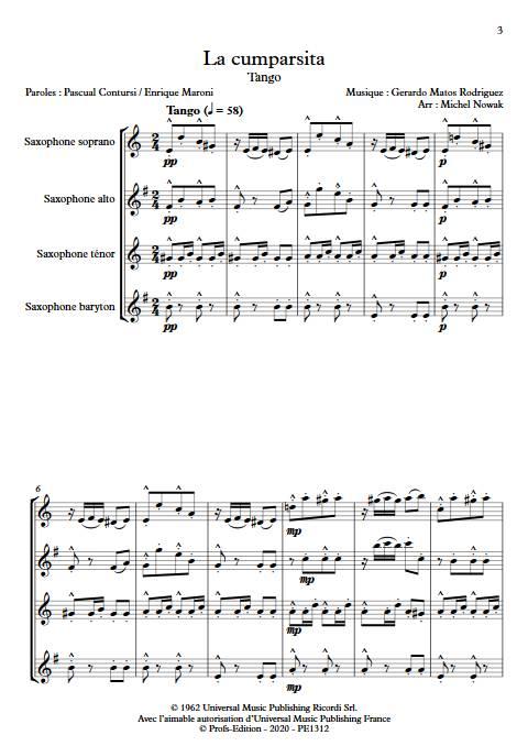 La Cumparsita - Quatuor de Saxophones - RODRIGUEZ G. M. - app.scorescoreTitle