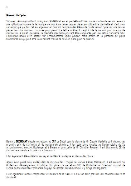 La lettre à Elise - Quatuor de Clarinettes - BEETHOVEN L. V. - Fiche Pédagogique