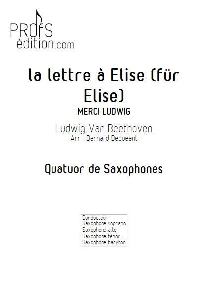La lettre à Elise - Quatuor de Saxophones - BEETHOVEN L. V. - page de garde
