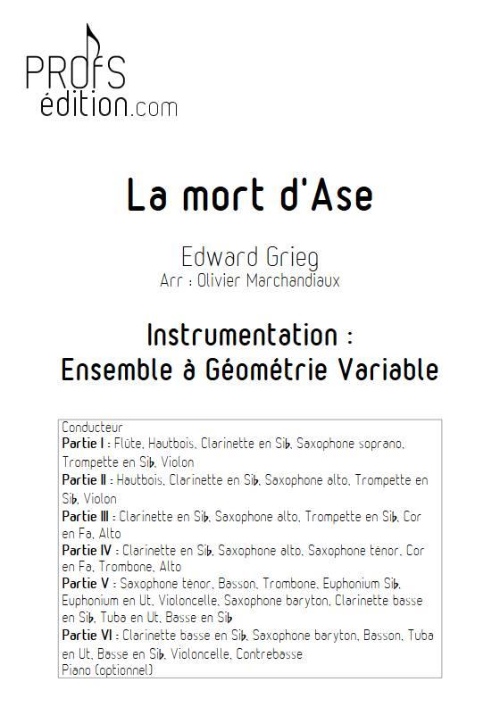 La mort d'Ase - Esemble Variable - GRIEG E. - page de garde