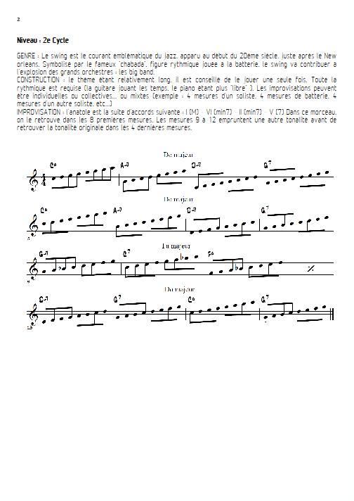 La Nana à Atoll - Quatuor de Clarinettes - VEYS A. - Fiche Pédagogique