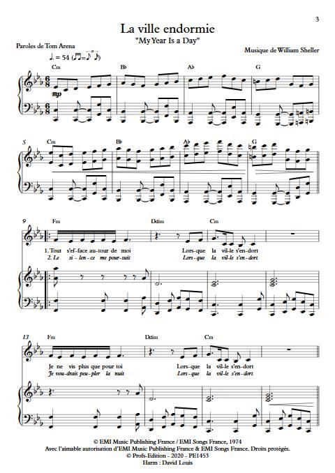 La ville endormie (My year is a day) - Piano Voix - SHELLER W. - app.scorescoreTitle