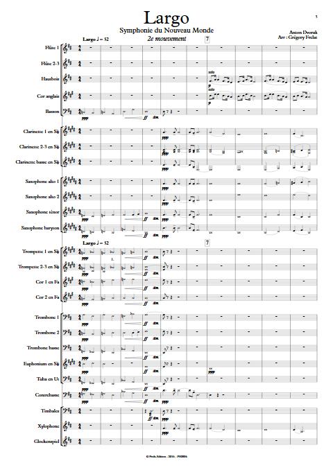 Largo (Symphonie du nouveau monde) - Orchestre d'Harmonie - FRELAT G. - Partition