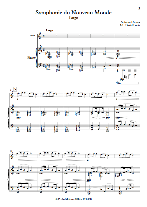 Symphonie du Nouveau Monde (Largo) - Flûte et Piano - DVORAK A. - Partition