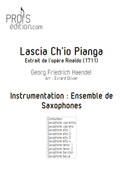 Lascia ch'io pianga - Ensemble de Saxophones - HAENDEL G. F. - page de garde