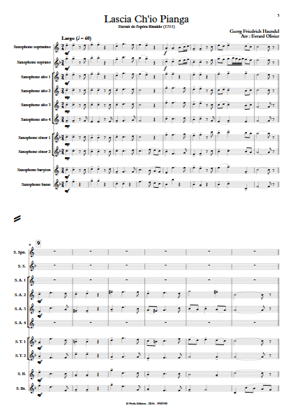 Lascia ch'io pianga - Ensemble de Saxophones - HAENDEL G. F. - Partition