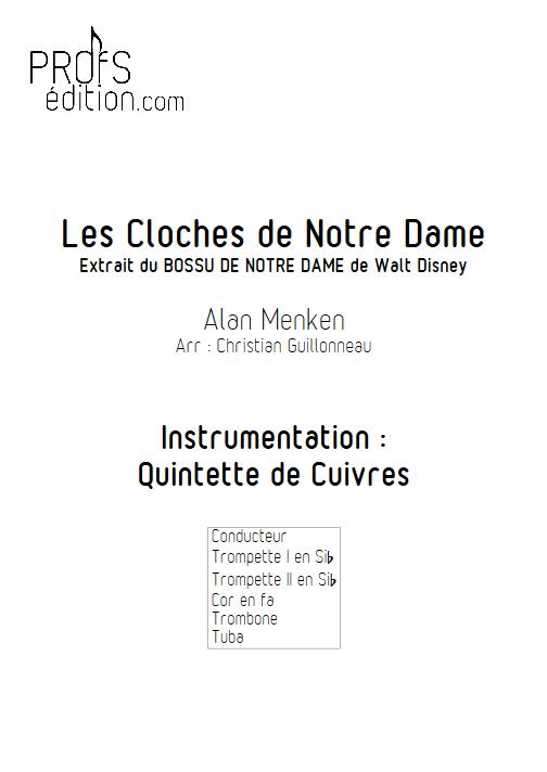 Le Bossu de Notre Dame - Quintette de Cuivres - MENKEN A. - page de garde