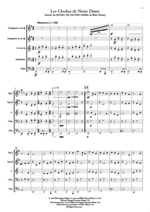 Le Bossu de Notre Dame - Quintette de Cuivres - MENKEN A. - Partition