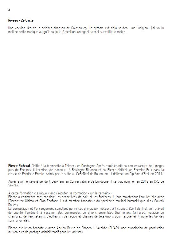Le Poinçonneur des Lilas - Fanfare - GAINSBOURG S. - Fiche Pédagogique