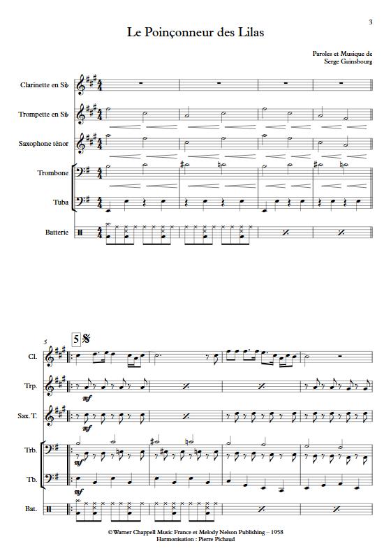 Le Poinçonneur des Lilas - Fanfare - GAINSBOURG S. - Partition